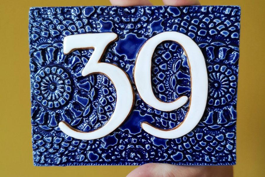Huisnummer 39 blauw